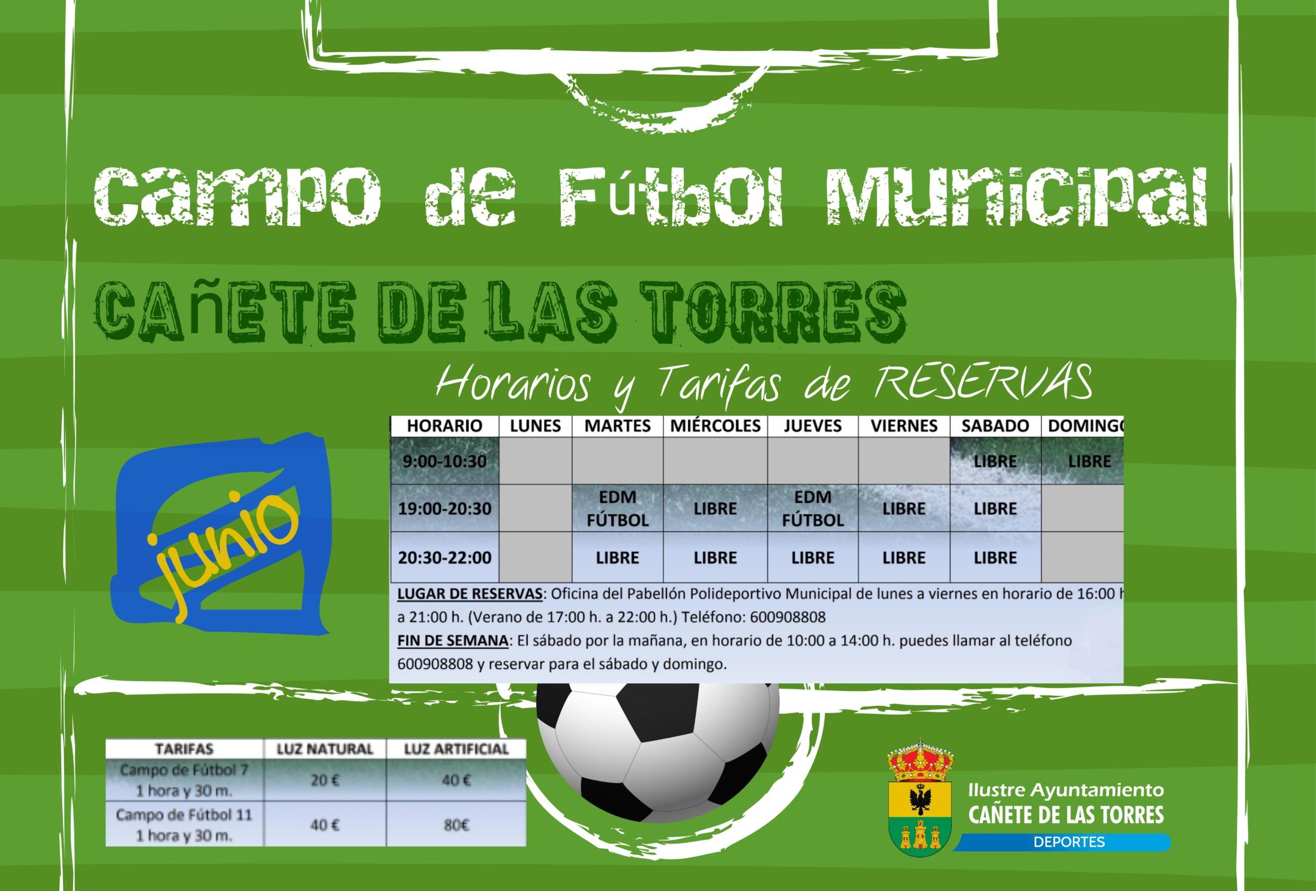 Horarios y Tarifas Campo Municipal de Fútbol de Cañete de las Torres 1