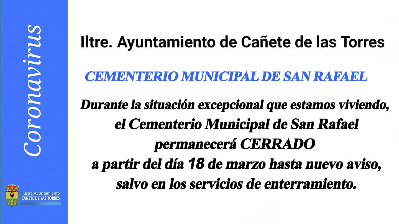 Cartel cementerio municipal cerrado