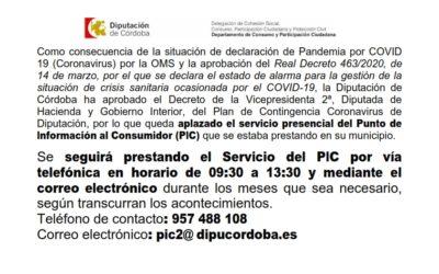 Aplazado el servicio presencial del Punto de Información al Consumidor (PIC)