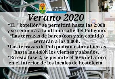 cartel horario terrazas de verano 2020