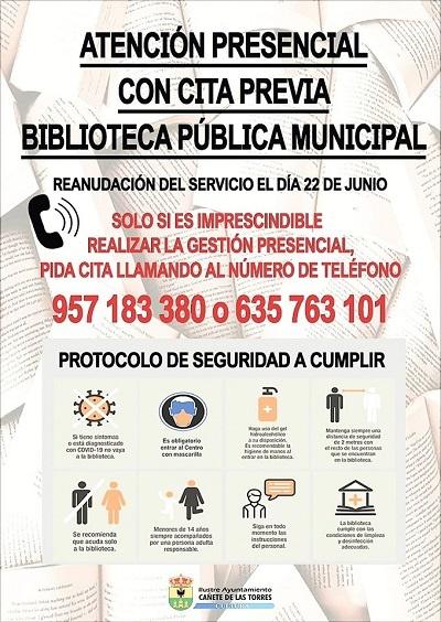 cartel reanudación servicio biblio