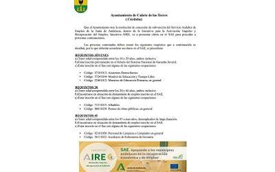 7 Ofertas de empleo dentro del Plan AIRE en Cañete de las Torres