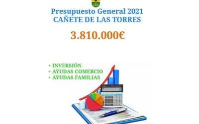 Cañete de las Torres contará para el 2021 con un presupuesto municipal de 3,8 millones de euros