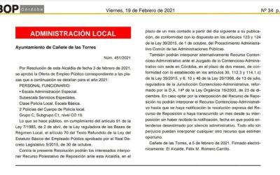 Oferta de empleo público correspondiente a dos plazas de Policía Local en Cañete de las Torres
