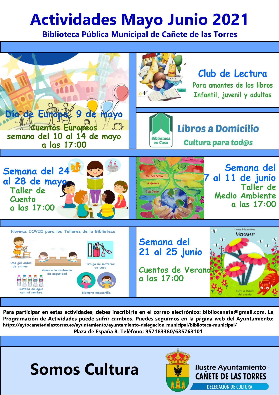 Programa actividades biblioteca mayo junio 2021