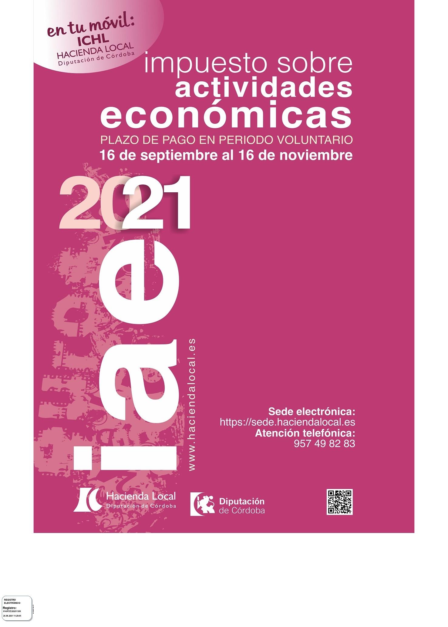 Cartel anunciador puesta al cobro IAE 2021