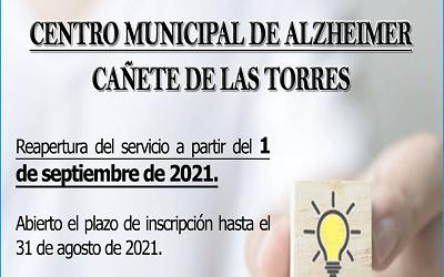 Inicio de actividad en septiembre del Aula de Alzheimer en Cañete de las Torres