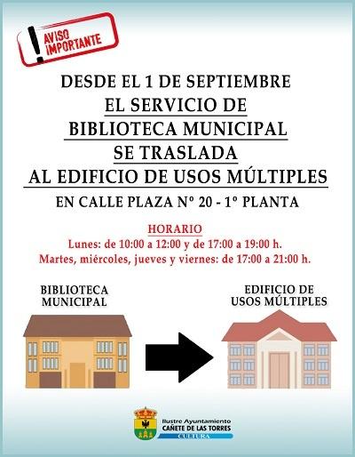 TRASLADO DEL SERVICIO MUNICIPAL DE BIBLIOTECA al Edificio de Usos Múltiples