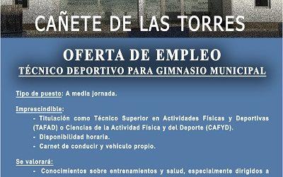 """Oferta de empleo """"Técnico Deportivo para Gimnasio Municipal"""""""